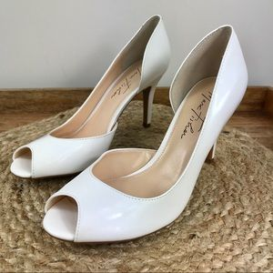 MARC FISHER joey peep toe heels white